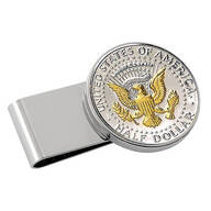 Monogrammed Presidential Half Dollar Silvertone Money Clip