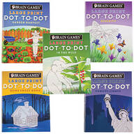 Brain Games® Large Print Dot-to-Dot Puzzle Books, Set of 5