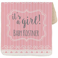 "Personalized It's a Girl! Baby Sherpa Throw 30""x40"""