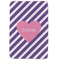 "Personalized Pink Heart Purple Striped Sherpa Throw, 37"" x 57"""