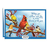 Personalized Songbird Calendar Card Christmas Cards, Set of 20