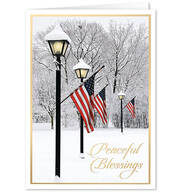 Personalized Patriotic Lamppost Christmas Cards, Set of 20