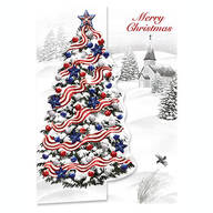 Patriotic Tree Christmas Card Set of 20