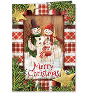 Personalized Calico Snowman Christmas Cards, Set of 20