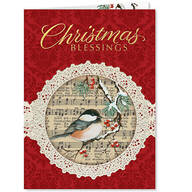 Personalized Christmas Chickadee Christmas Cards, Set of 20