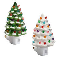 Green and White Ceramic Tree Night Lights, Set of 2