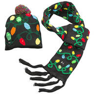 Lighted Christmas Bulb Hat & Scarf, Set of 2