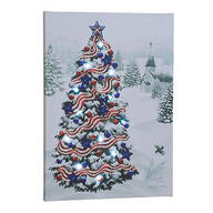 Patriotic Tree Lighted Canvas by Northwoods Illuminations™