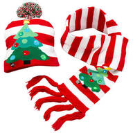 Lighted Christmas Tree Hat & Scarf, Set of 2
