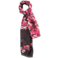 Black Floral Fashion Scarf/Shawl