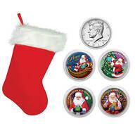 Santa Coin Collection in Christmas Stocking