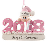 "Personalized 2018 ""Baby's 1st Christmas"" Ornament"