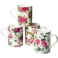 Victorian Chintz Assorted 14 Oz. Mugs, Set of 4