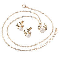 Fresh Water Pearl Reindeer Necklace and Earring Set