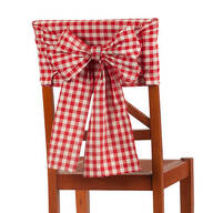 Red Check Chair Cover with Bow