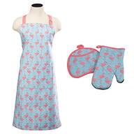 Flamingo Apron and Oven Mitt Set