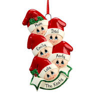 Personalized Family in Stocking Caps Ornament