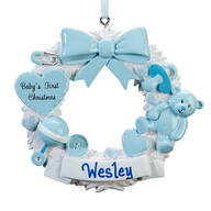 Personalized Baby's First Christmas Wreath Ornament