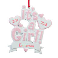 Personalized It's a Girl Ornament