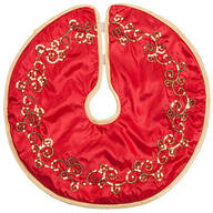 Red and Gold Glittered Tree Skirt