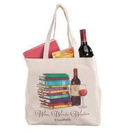 Personalized Wine, Words, Wisdom Book Club Tote
