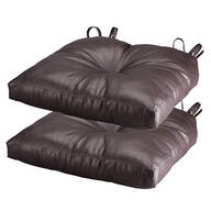 Chocolate Faux Leather Chair Pad, Set of 2