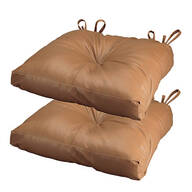 Camel Faux Leather Chair Pad, Set of 2