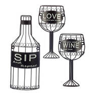 3-Pc. Sip, Wine and Love Wall Hanging Set by Home-Style Kitchen™
