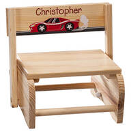 Personalized Children's Racecar Chair/Step Stool