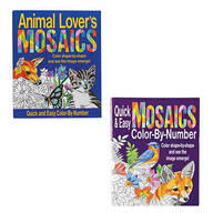 Mosaics Color by Number Animal Lovers Quick & Easy Set of ea.