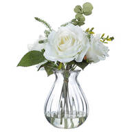 Illusion Glass White Rose Floral Arrangement by Oakridge™
