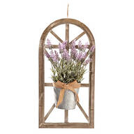 Window Frame Lavendar Floral Arrangement