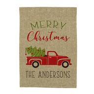 Personalized Red Truck Christmas Burlap Garden Flag