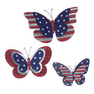 Metal Patriotic Butterfly Plaques Set/3 by Fox River Creatio