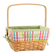 Personalized Plaid Wicker Easter Basket