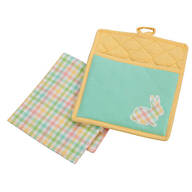 Pocket Mitt & Tea Towel Set Bunny Applique Yellow