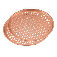 "12.5"" Ceramic Copper Pizza Pans, Set of 2"
