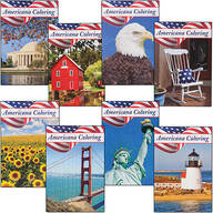 Americana Coloring Books, Set of 8