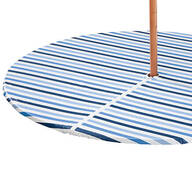 Blue Stripe Vinyl Zippered Elasticized Tablecover by Home-Style Kitchen™