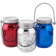 Red, White & Blue Fairy Light Fireworks Jars, Set of 3