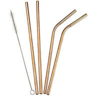 5-Pc. Copper Color Reusable Straw Set