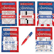 Brain Games® Americana Puzzles 5-Book Set with Pen