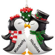 Personalized Kissing Penguins Ornament