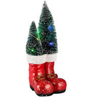 Resin Santa Boots with Lighted Trees