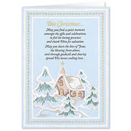 Personalized Embroidered Chapel Christmas Card Set of 20