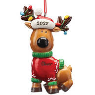 Personalized Reindeer in Sweater Ornament