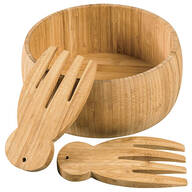 "Bamboo 10"" Salad Bowl and Salad Hands by Home Marketplace"