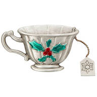 Christmas Teacup Pewter Pin