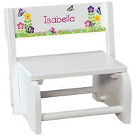 Personalized Children's White Butterfly & Flower Step Stool