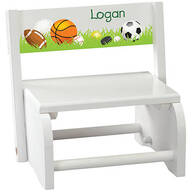 Personalized Children's White Sports Step Stool